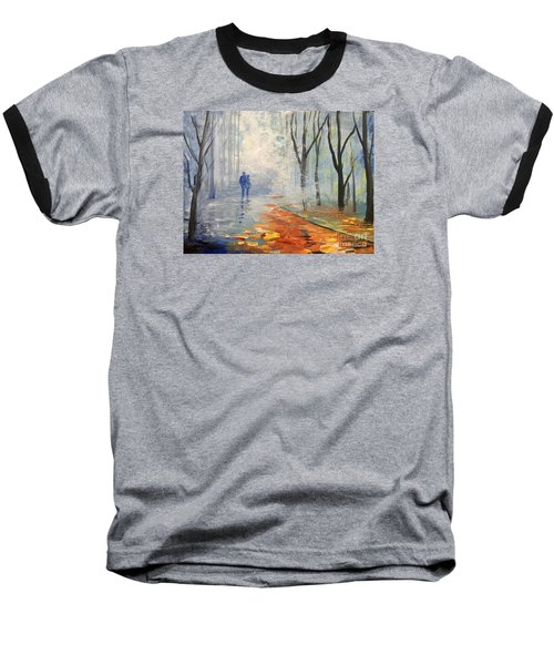 Baseball T-Shirt featuring the painting A Fall Walk by Trilby Cole