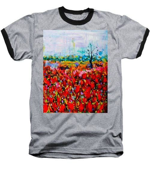 A Field Of Flowers # 2 Baseball T-Shirt by Maxim Komissarchik