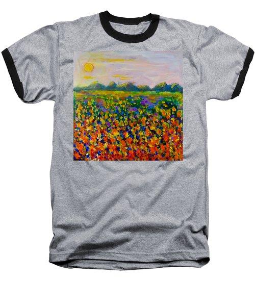 A Field Of Flowers #1 Baseball T-Shirt by Maxim Komissarchik