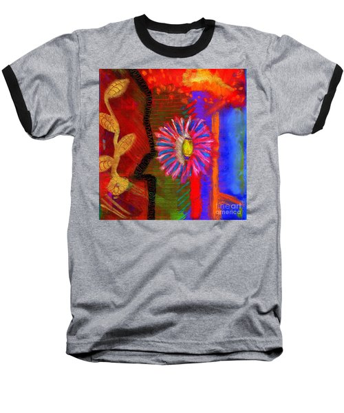 Baseball T-Shirt featuring the painting A Flower For You by Angela L Walker
