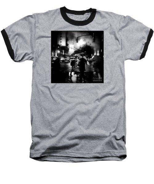 A Foggy Night In New York Town - Checkered Umbrella Baseball T-Shirt by Miriam Danar