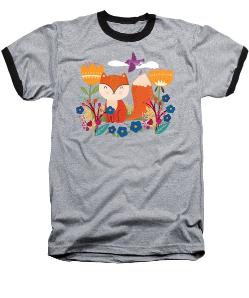 A Fox In The Flowers With A Flying Feathered Friend Baseball T-Shirt