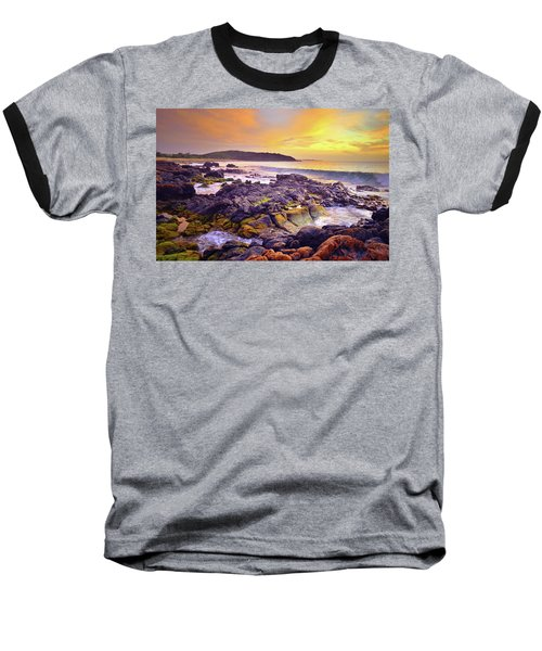 Baseball T-Shirt featuring the photograph A Gentle Wave At Sunset by Tara Turner