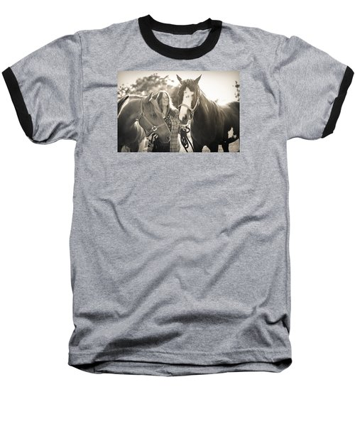 A Girl And Horses In The Sun Sepia Baseball T-Shirt by Kelly Hazel
