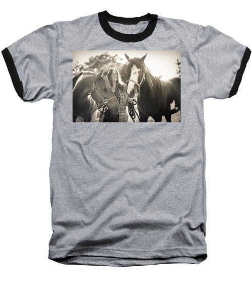 A Girl And Horses In The Sun Sepia Baseball T-Shirt