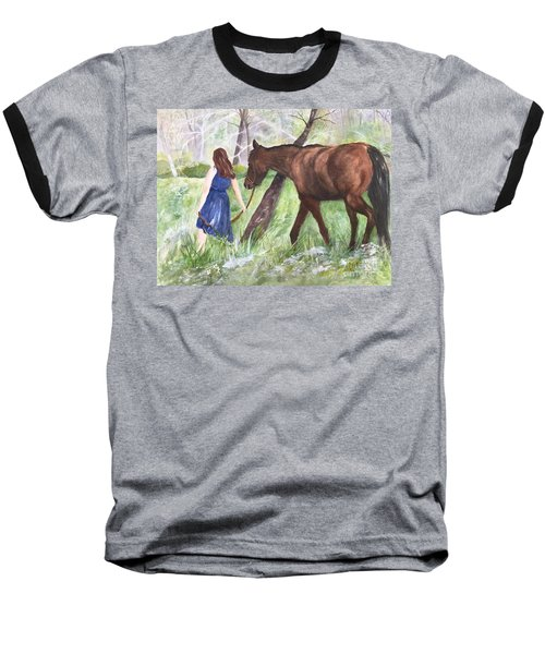 Baseball T-Shirt featuring the painting A Girl's Best Friend by Lucia Grilletto