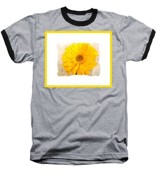 Baseball T-Shirt featuring the photograph A Grand Yellow Gerber by Marsha Heiken