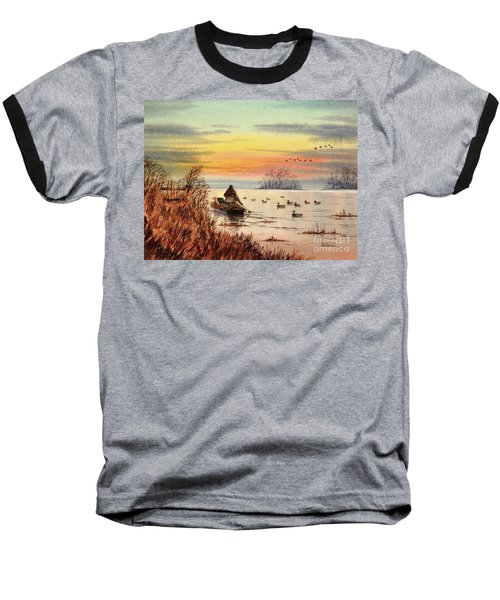 Baseball T-Shirt featuring the painting A Great Day For Duck Hunting by Bill Holkham