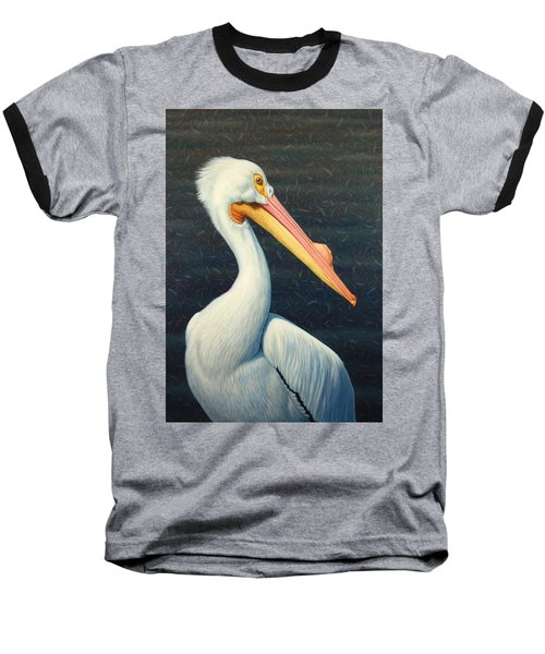 A Great White American Pelican Baseball T-Shirt by James W Johnson