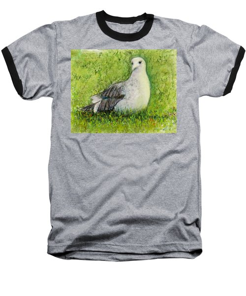 A Gull On The Grass Baseball T-Shirt by Laurie Morgan