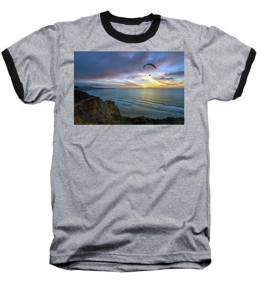 A Hang Glider And A Sunset Baseball T-Shirt