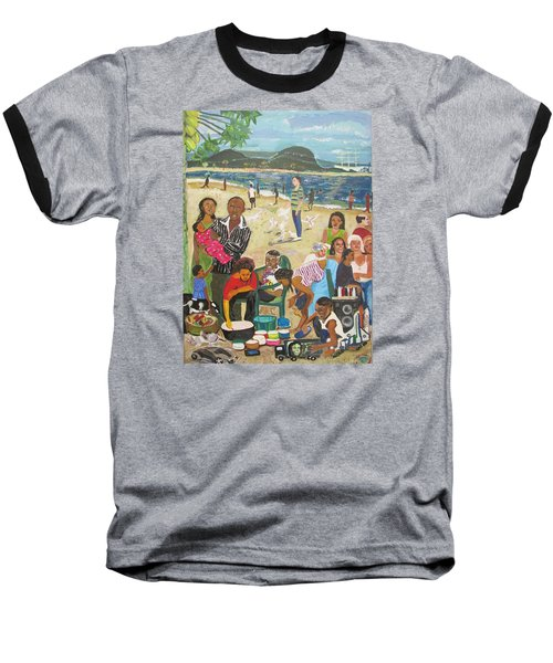 Baseball T-Shirt featuring the painting A Heavenly Day - Lumley Beach - Sierra Leone by Mudiama Kammoh