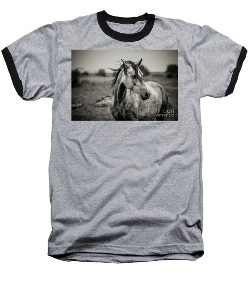 A Horse In Profile In Black And White Baseball T-Shirt