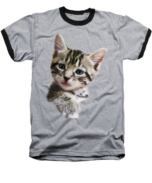 A Kittens Helping Hand On A Transparent Background Baseball T-Shirt by Terri Waters
