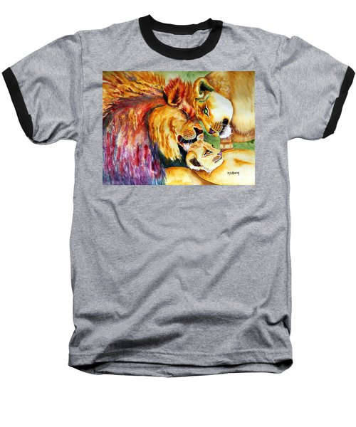 Baseball T-Shirt featuring the painting A Lion's Pride by Maria Barry