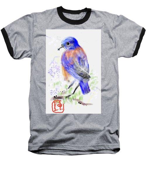 A Little Bird In Blue Baseball T-Shirt