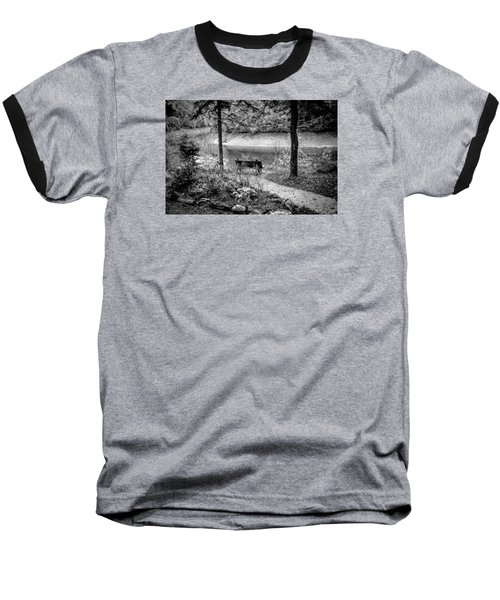 A Lone Bench By The Nantahala River Baseball T-Shirt by Kelly Hazel
