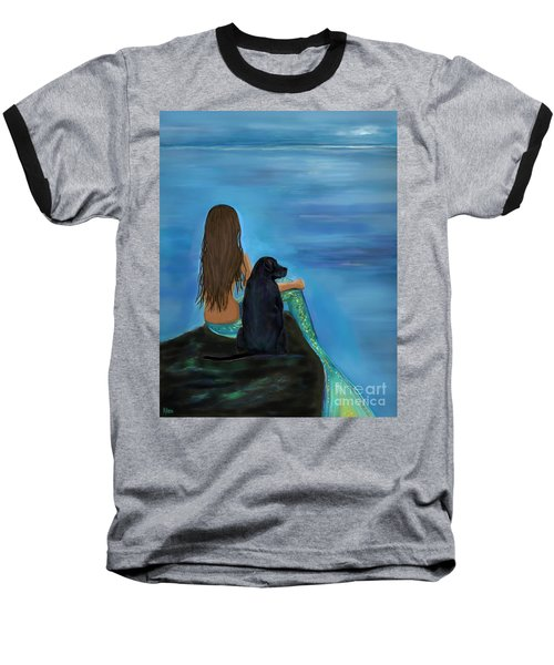 Baseball T-Shirt featuring the painting A Loyal Buddy by Leslie Allen
