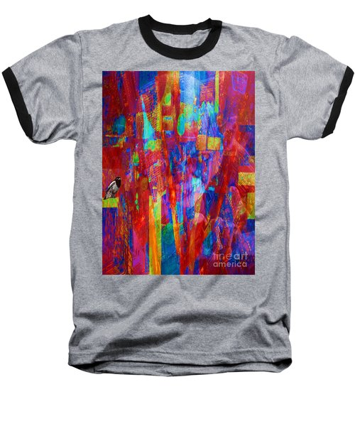 A Magpie At Wallstreet Baseball T-Shirt by Mojo Mendiola