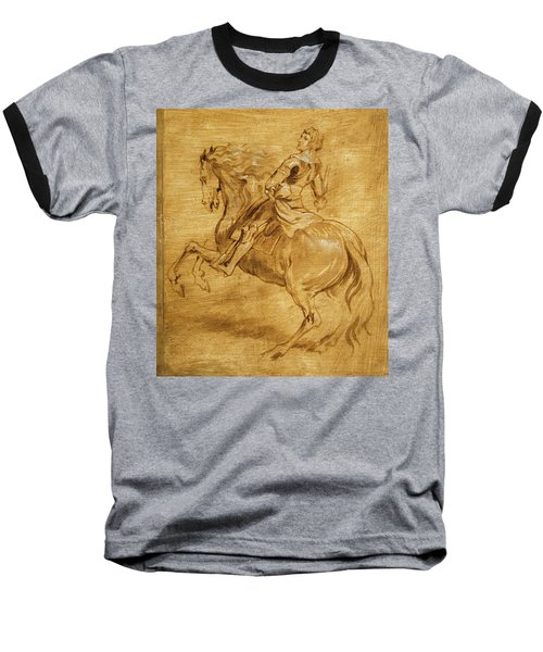 Baseball T-Shirt featuring the painting A Man Riding A Horse by Anthony van Dyck