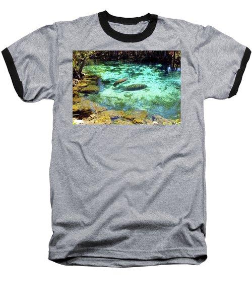 A Manatee Calf And Cow  Baseball T-Shirt