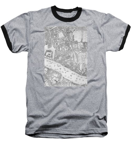 A Map Of The Tower Of London Baseball T-Shirt by John Rocque