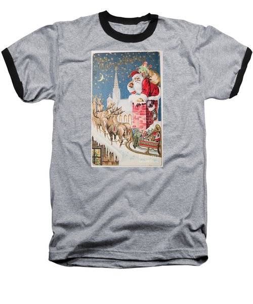 A Merry Christmas Vintage Greetings From Santa Claus And His Raindeer Baseball T-Shirt by R Muirhead Art