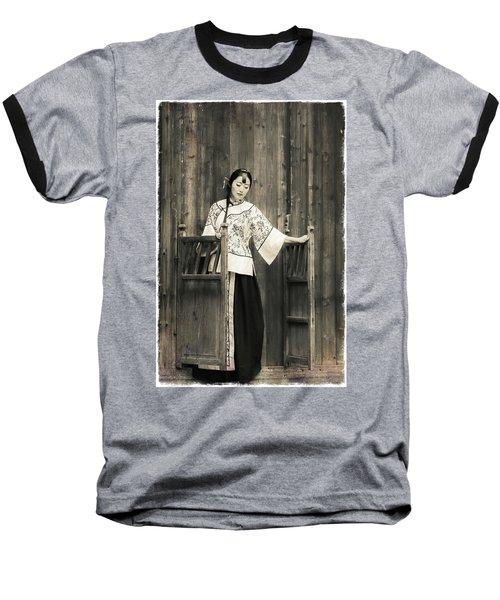A Model In A Period Costume. Baseball T-Shirt