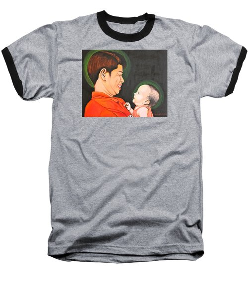 Baseball T-Shirt featuring the painting A Moment With Dad by Cyril Maza