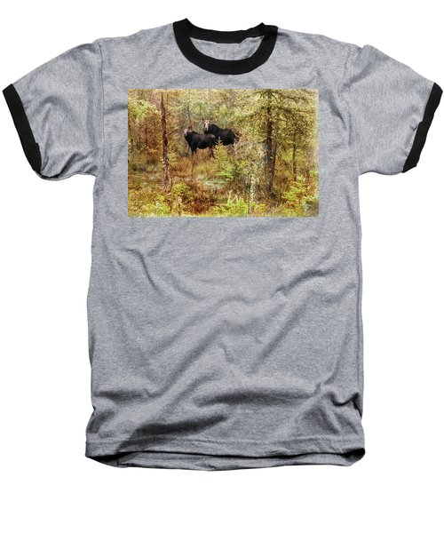 A Mother And Calf Moose. Baseball T-Shirt