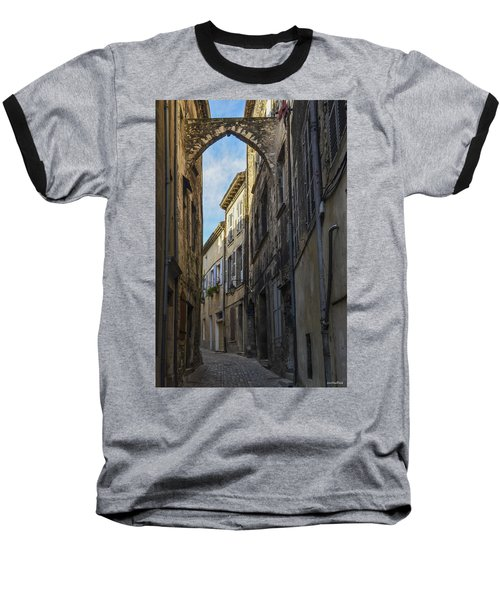 Baseball T-Shirt featuring the photograph A Narrow Street In Viviers by Allen Sheffield