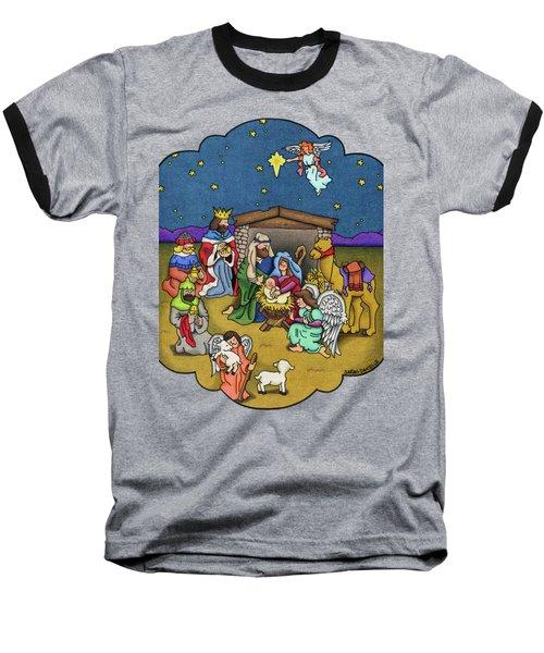 A Nativity Scene Baseball T-Shirt by Sarah Batalka