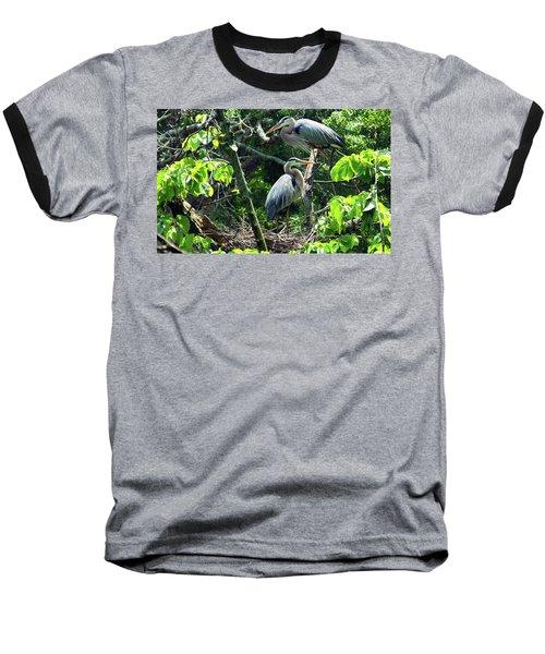 A Nesting Pair Of Great Blue Herons Baseball T-Shirt