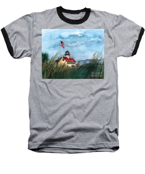 Baseball T-Shirt featuring the painting A New Day At East Point Lighthouse by Nancy Patterson