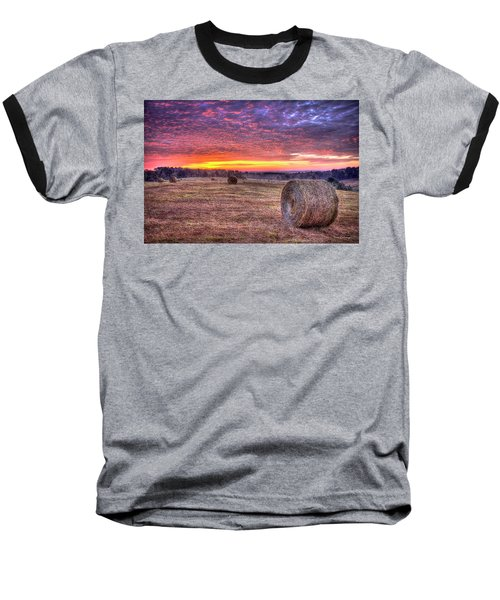 Baseball T-Shirt featuring the photograph Before A New Day Georgia Hayfield Sunrise Art by Reid Callaway