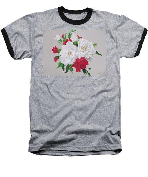 A New Rose Bouquet Baseball T-Shirt by Hilda and Jose Garrancho