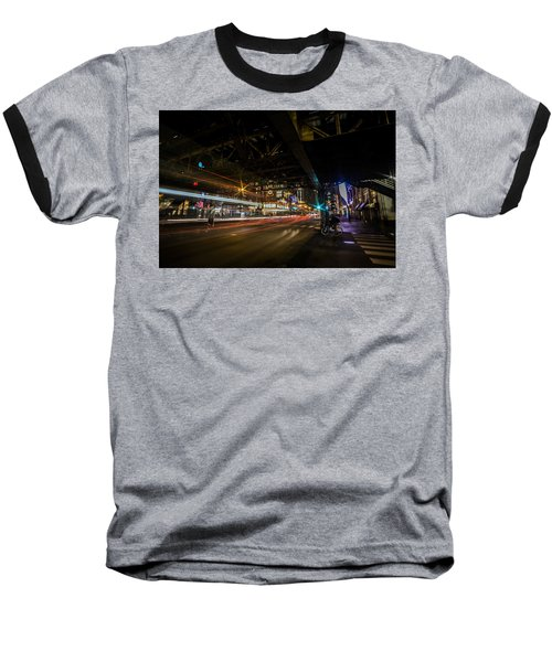 a nighttime look at Chicago's busy State and Lake Intersection Baseball T-Shirt