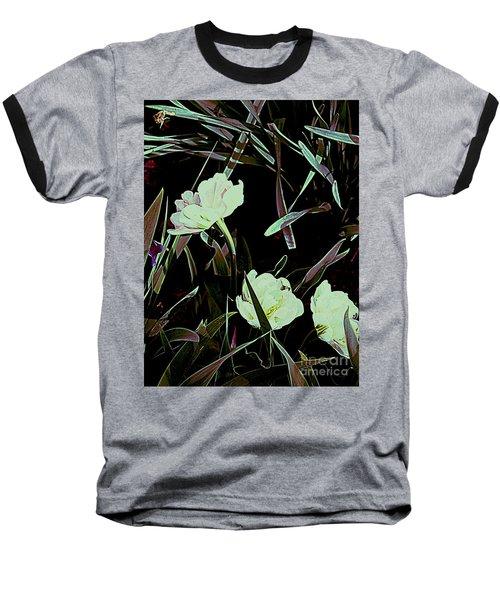 Baseball T-Shirt featuring the photograph A Noir Mystery Tulip Trio by Nancy Kane Chapman