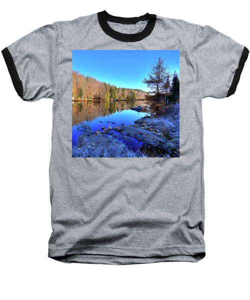 Baseball T-Shirt featuring the photograph A November Morning On The Pond by David Patterson