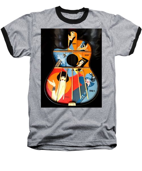 A Painted Guitar Baseball T-Shirt by Victor Minca