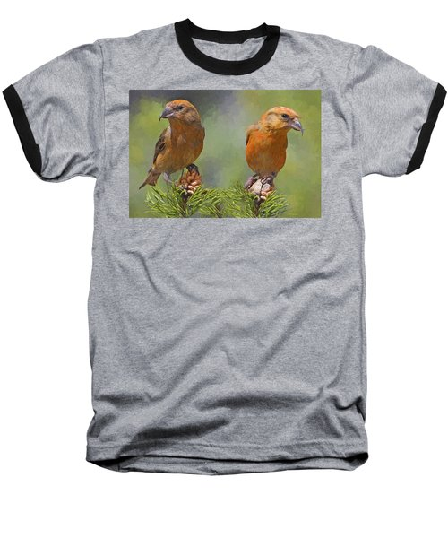 A Pair Of Male Red Crossbills - Painted Baseball T-Shirt