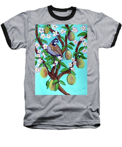 A Partridge In A  Blooming Pear Tree Baseball T-Shirt by Ecinja Art Works