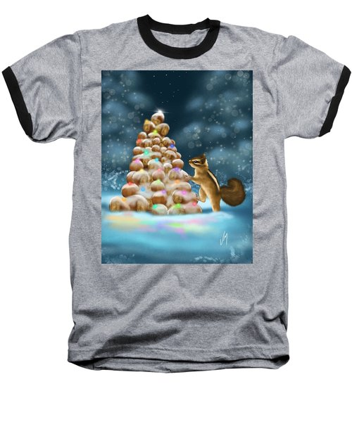 Baseball T-Shirt featuring the painting A Perfect Christmas Tree by Veronica Minozzi