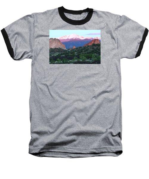 A Pikes Peak Sunrise Baseball T-Shirt by Eric Glaser