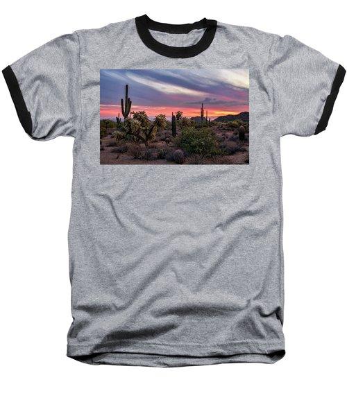 Baseball T-Shirt featuring the photograph A Pink Kissed Desert Sunset  by Saija Lehtonen