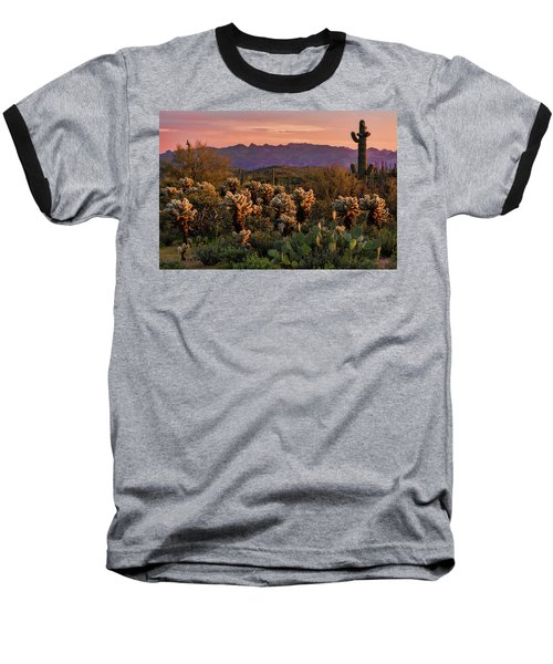 Baseball T-Shirt featuring the photograph A Pink Kissed Sunset  by Saija Lehtonen