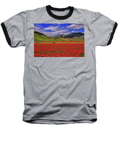A Poppyy Dream Baseball T-Shirt by Midori Chan