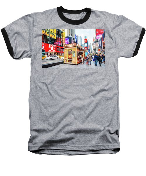 A Portable Food Stand In New York Times Square Baseball T-Shirt