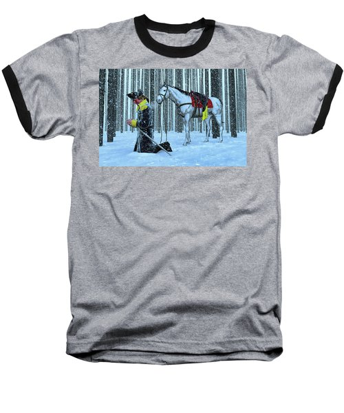 A Prayer In The Snow Baseball T-Shirt by Dave Luebbert