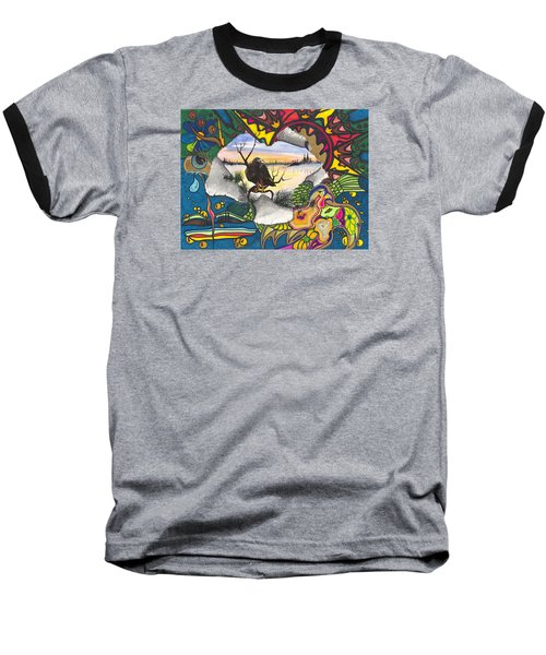 Baseball T-Shirt featuring the painting A Punch Through by Darren Cannell